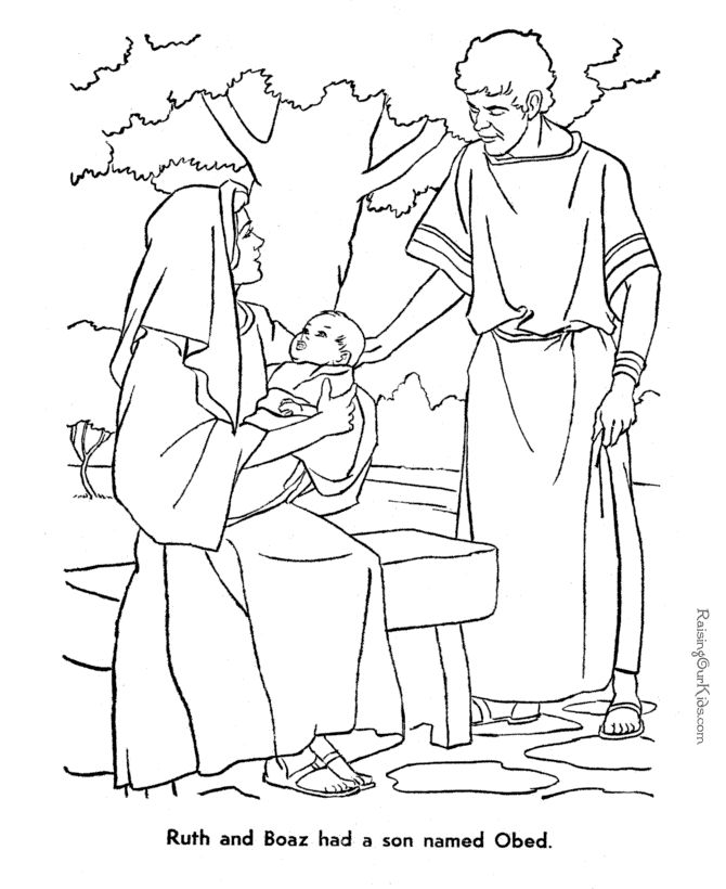 boaz ruth with baby obed ruth bible coloring pages