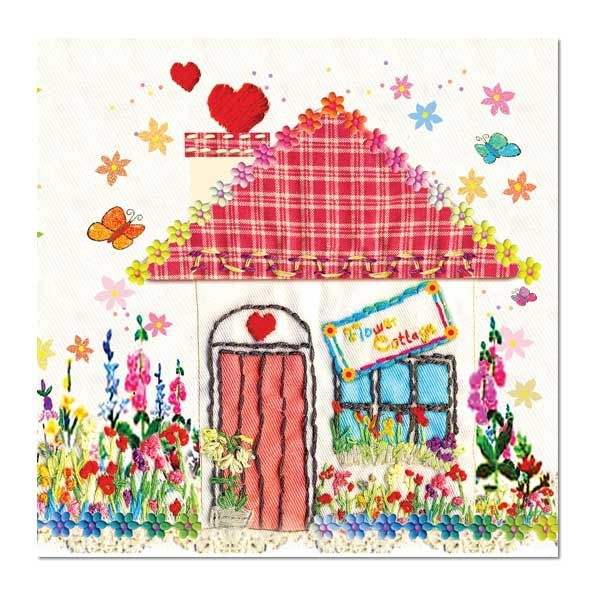 Fun Greeting Card: Flower Cottage, Unique Greeting Cards, Quality Birthday Cards and Luxury Christmas Cards by Paradis Terrestre