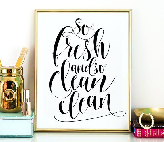 So fresh and so clean. Printable bathroom wall decor in 5x7, 8x10 and 11x14 sizes in high resolution PDF and JPG files. Instantly available after