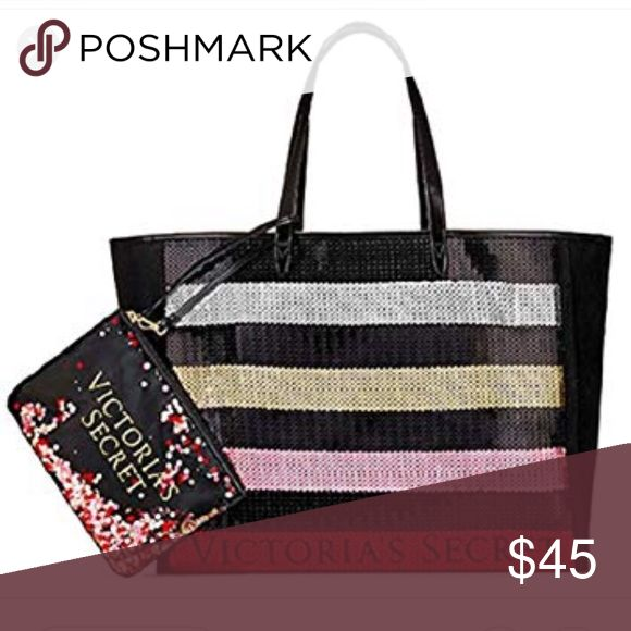 👛 Victoria Secret tote bag👛 👛Gorgeous sequined black canvas tote with P…