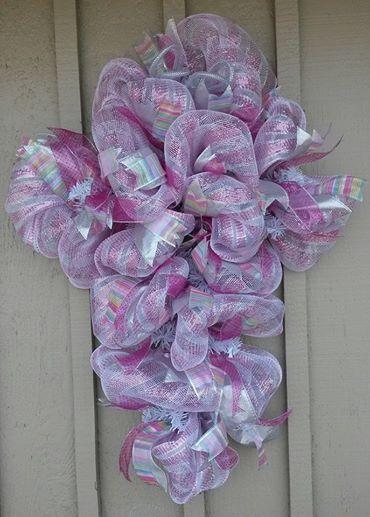 Easter Deco Mesh Cross Wreath Facebook