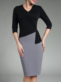 Black Cotton-blend Sheath V Neck 3/4 Sleeve Midi Dress