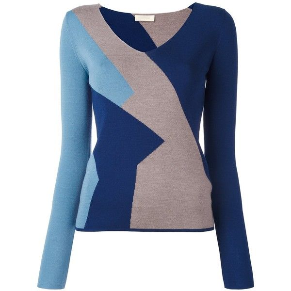 Wunderkind colour block knitted top ($605) found on Polyvore featuring women's fashion, tops, blue, blue top, colorful tops, colorblock top, multi color tops and color block tops