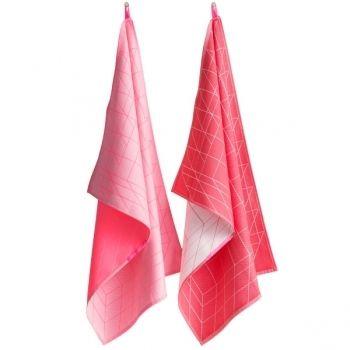 Hay pink tea towels, box.