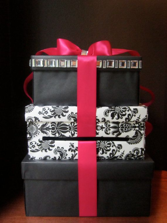 pink and black damask card box | Hot Pink and Black Damask Wedding Card Box Money by TarioInc, $75.00