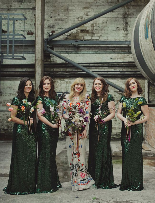 scottish beauties in green | Photo by Dan O'Day | image via: Green Wedding Shoes