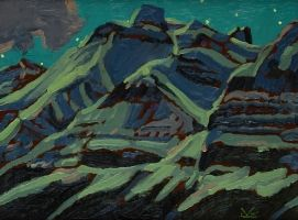 """Illingworth Holey (Buck) Kerr (1905-1989), Canadian / """"Mountain Moon"""", 1987, oil on canvas board / private collection (as of 2015)"""