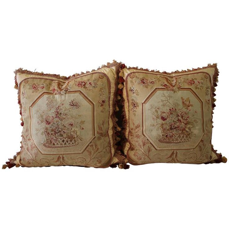 Pair of 19th Century Aubusson Needlepoint Pillows | From a unique collection of antique and modern pillows-throws at https://www.1stdibs.com/furniture/more-furniture-collectibles/textiles/pillows-throws/