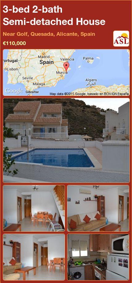 3-bed 2-bath Semi-detached House in Near Golf, Quesada, Alicante, Spain ►€110,000 #PropertyForSaleInSpain