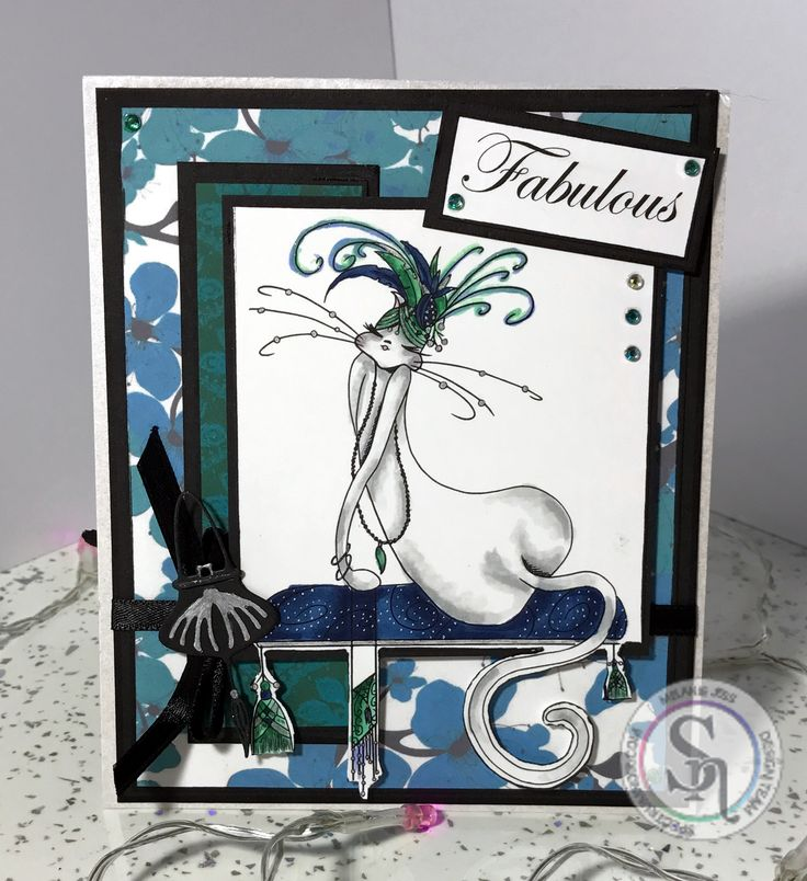 Mel Jess - Twist and Pop Card using Cattitude CD Rom, Spectrum Noirs and Stamps, Spectrum Noirs – • IG1, IG2 • GT1, GT2, GT3 • TB3, TB8, TB9 • PP1 • True Black Sparkle Pen – Soft Jade #spectrumnoir #crafterscompuk #catitude #handmade #card #stamping #colouring