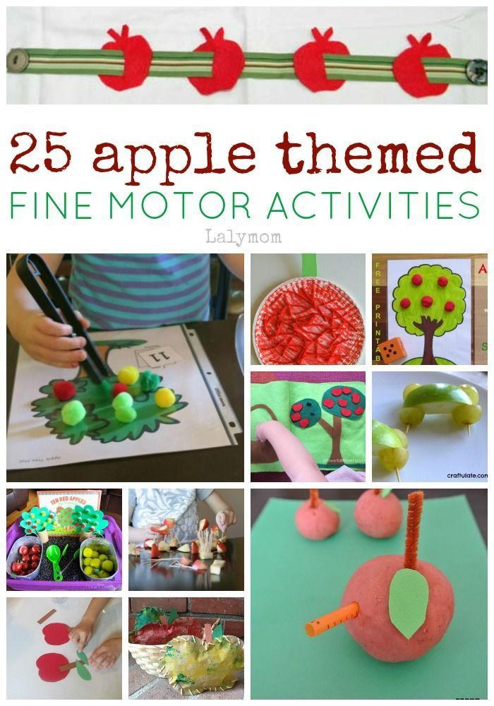 25 Apple Themed Fine Motos Skills Activites on http://Lalymom.com perfect for Fall & Autumn lesson plans, montessori work and more! Some are geared towards toddlers while others are better for preschoolers and school aged kids. #EarlyEd #FineMotor #ActivitiesForKids