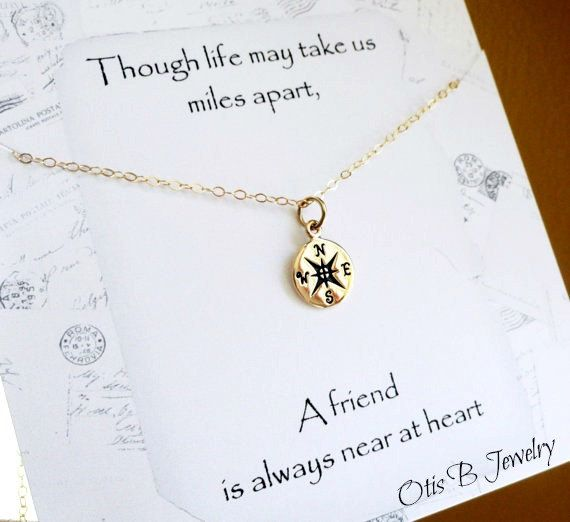 Compass necklace, friendship necklace with text card, best friend gift, free shipping   – DIY