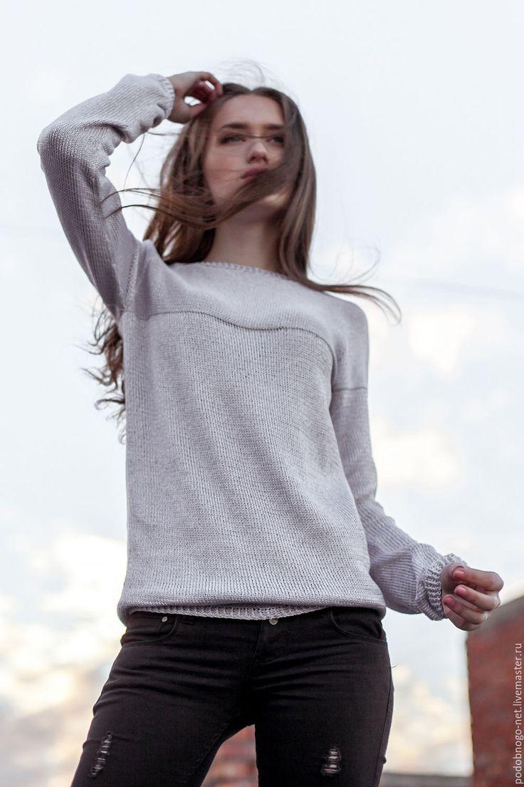 Купить базовый свитер - серый, однотонный, легкий свитер, женский свитер, вязаный свитер