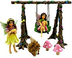 Fairy Garden Swing Set Kit with Miniature Fairies & Accessories - Figurines Avie and Stella By Pretmanns