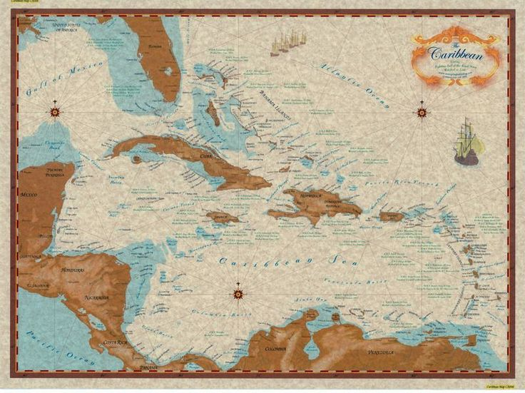 This map shows the countries of the Caribbean region with names of cities and major towns. It is useful for reference or as a route planning and hurricane tracking chart. Also lists Royal Navy shipwre