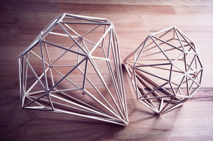 DIY: ferm living inspired diamond. Three dimensional made from dowels. These just look like fun to make.