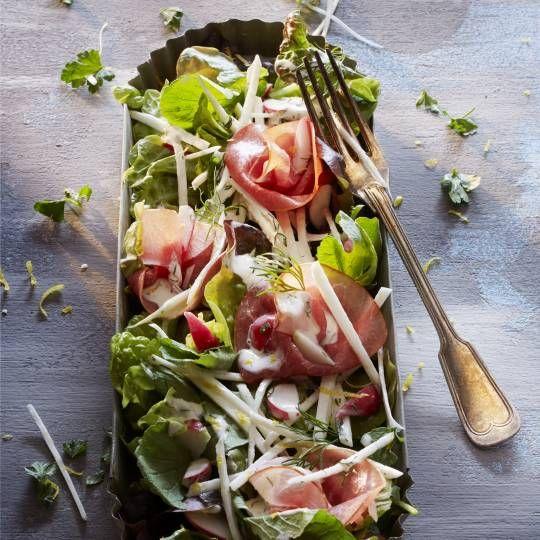 Selderijsalade met rookvlees en kruidenmayonaise
