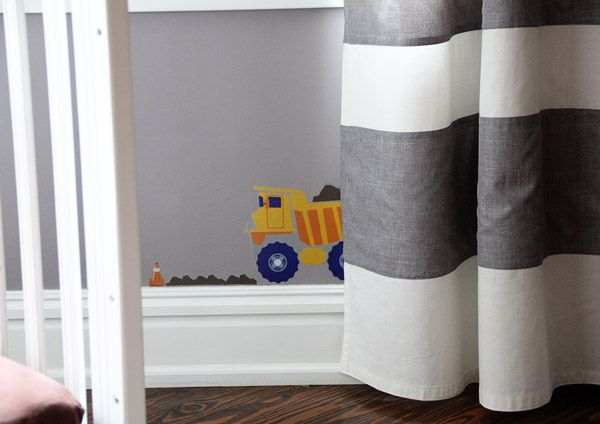 Ethan's construction theme room came together with DIY Extra Long Horizontal Stripe Curtains for SO CHEAP!