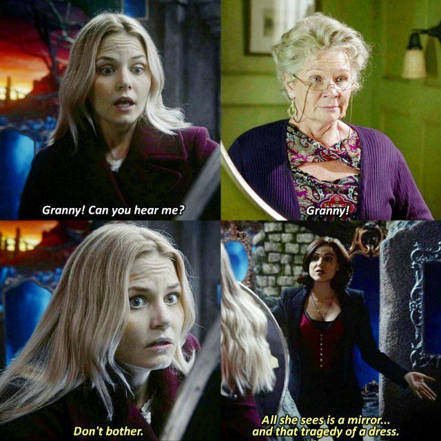 """Don't bother. All she sees is a mirror... and that tragedy of a dress"" - Regina, Emma and Granny #OnceUponATime ((Bahaha))"