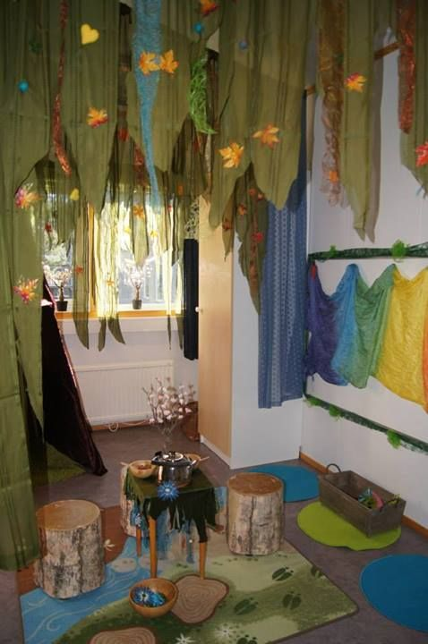 Lovely area for imaginative-play -- I love this idea and set up!