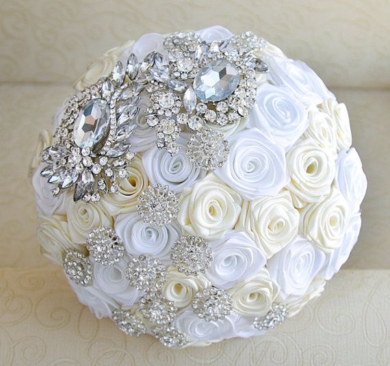 Brooch Bouquets for Sale | SALE - Brooch bouquet. Ivory, white and silver wedding brooch bouquet ...