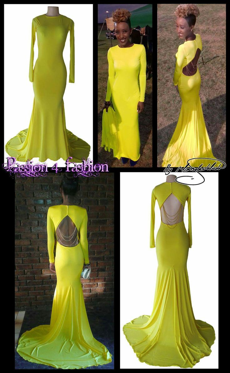 Bright yellow soft mermaid matric dance dress. With a jewel neckline. Long sleeves and an open back. Detailed with chain. #mariselaveludo #fashion #matricdance #matricdress #passion4fashion #yellowdress #yellowsoftmermaiddress #promdress #eveningwear #eveningdress