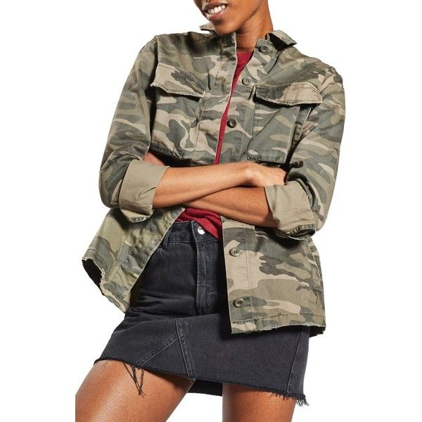 Women's Sampson Camo Shirt Jacket ($85) ❤ liked on Polyvore featuring outerwear, jackets, olive multi, petite, camo print jacket, camo shirt jacket, olive green jackets, green camo jacket and army green shirt jacket