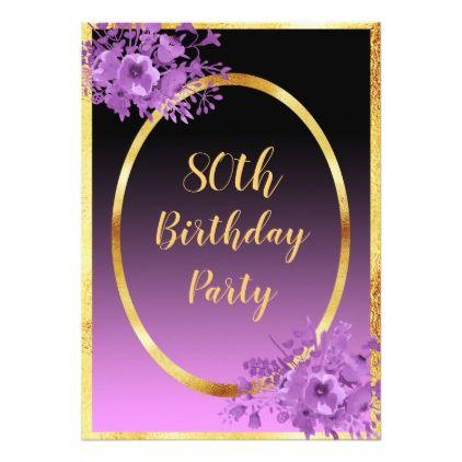#80th birthday party invitation gold black purple - #birthday #invitations