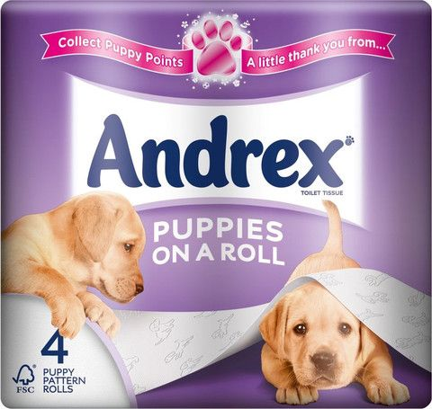 Andrex toilet roll, puppies on a roll