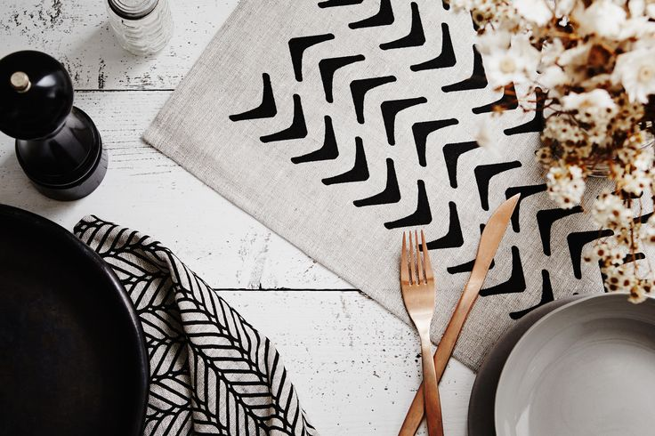 100% linen tea towels. Screen-printed by hand. Geometric design by Sly. Shot by Annette O'brien.