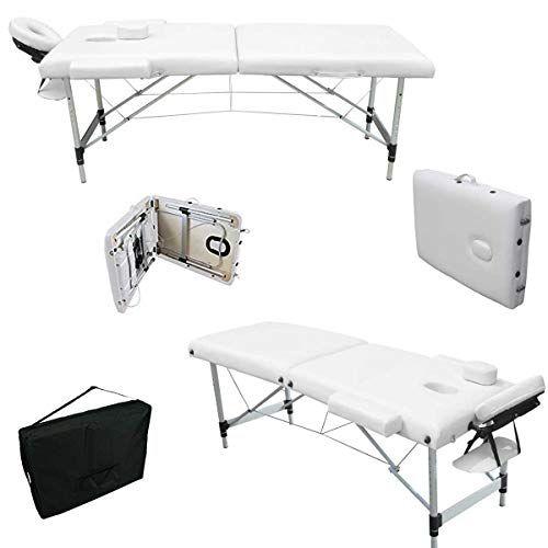 Mervy Table De Massage Pliante 2 Zones Aluminium Avec Panneau