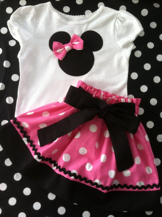 Minnie Mouse in pink and white polka dot skirt and white shirt outfit (Available in short sleeve only) on Etsy, $45.00