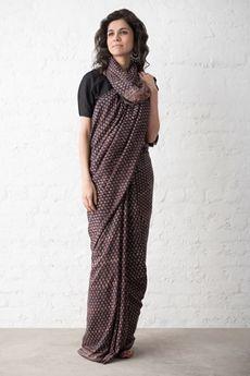 Goodearth - Ajrak Phul Buti Silk Saree