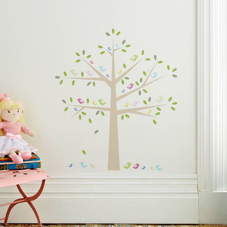 Childrens birds in a tree wall stickers