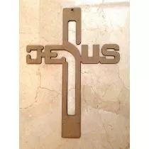 Cruz De Madera Con La Palabra Jesus