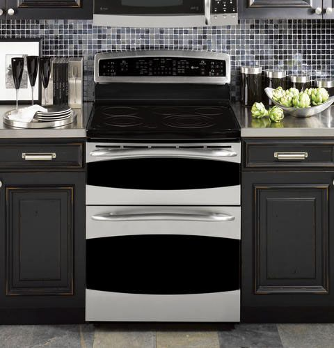 This is on my wishlist. It's from the GE Double Oven + Range Cafe line. It also has a microwave/vent hood combo. It's awesome.
