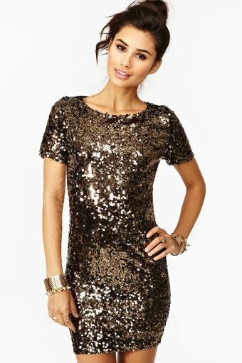gold and black sequins dress from nastygal boutique. $98