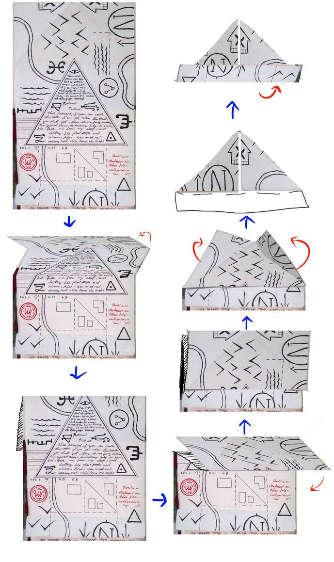 Gravity Falls Journal 3 Replica - Folding Hat Map by leoflynn on DeviantArt