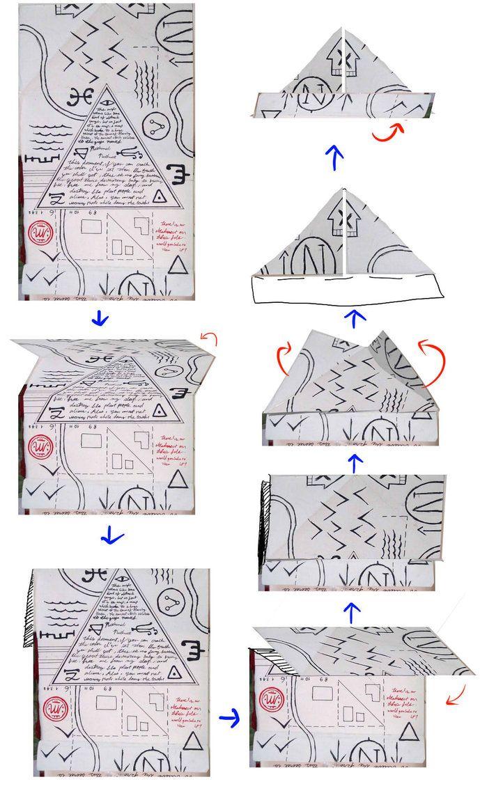 Gravity Falls Journal 3 Replica - Folding Hat Map by leoflynn on DeviantArt