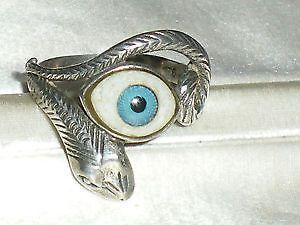 Unusual Evil Eye Snake Ring. Size 'S' with large, piercing blue eye. Marked 925 silver on the substantial shank.