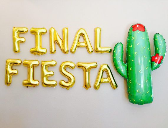Its the FINAL FIESTA!!! What a FUN way to send off Single Life :) Listing includes: Letter Balloons that spell outFINAL FIESTA THESE LETTERS DO NOT FLOAT!!! 1 Straw per package to blow up the balloon Enough twine for a Banner  ***** Add on Option for Fun Prop JUMBO Helium Balloons**** SOMBRERO 34 INCHES CACTUS 41 INCHES PEPPER 32 INCHES MARGARITA 36 INCHES  PLEASE NOTE: 1. Each Balloon is 16 INCHES Tall and approximately 12-16 inches wide, depending on the Letter! 2. These Balloons are AIR…