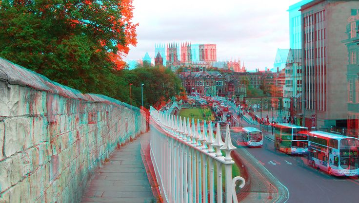 https://flic.kr/p/HDHWpq | City-walls York England  3D | anaglyph stereo red/cyan