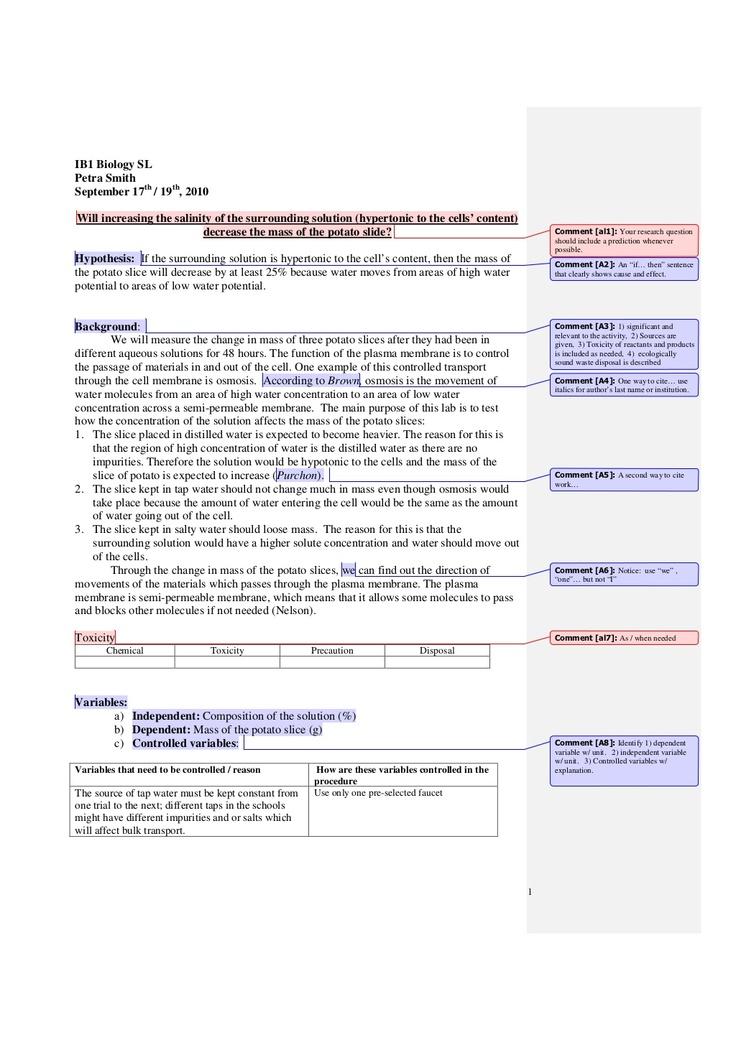 ib-biology-labreportsample by npopova via Slideshare