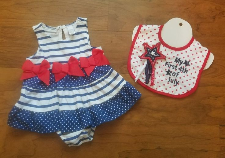 First Impressins Girl 0-3 Months Red White Blue Romper & My 1st 4th Of July Bib  | Clothing, Shoes & Accessories, Baby & Toddler Clothing, Girls' Clothing (Newborn-5T) | eBay!