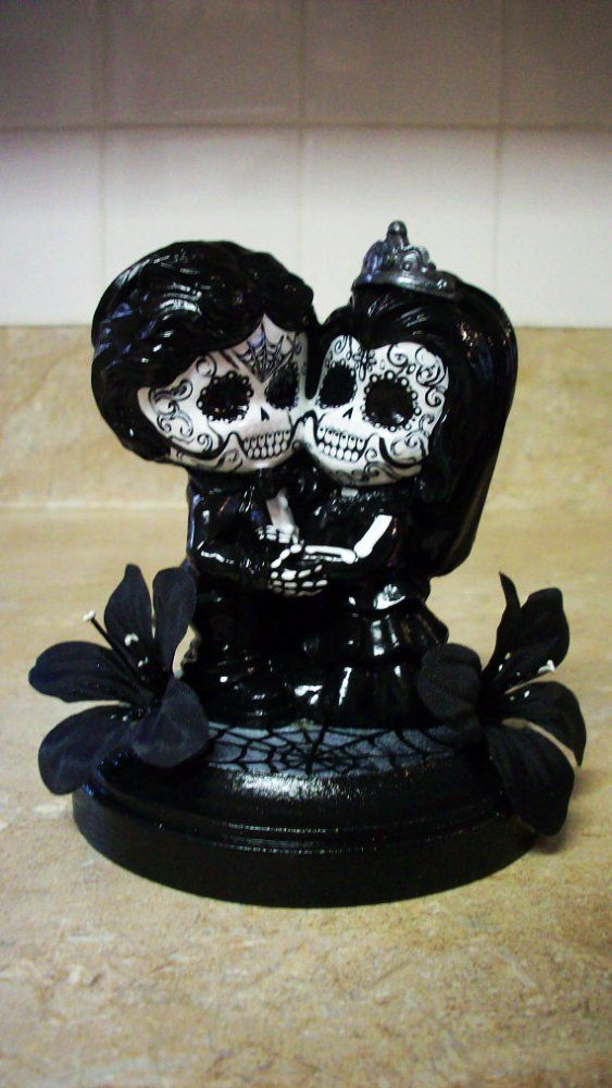 Day of the dead wedding cake topper figurine centerpiece