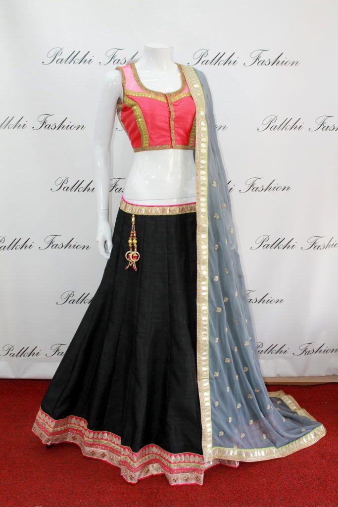 Exclusive Full Flair Black Silk chaniya choli with Designer Blouse.