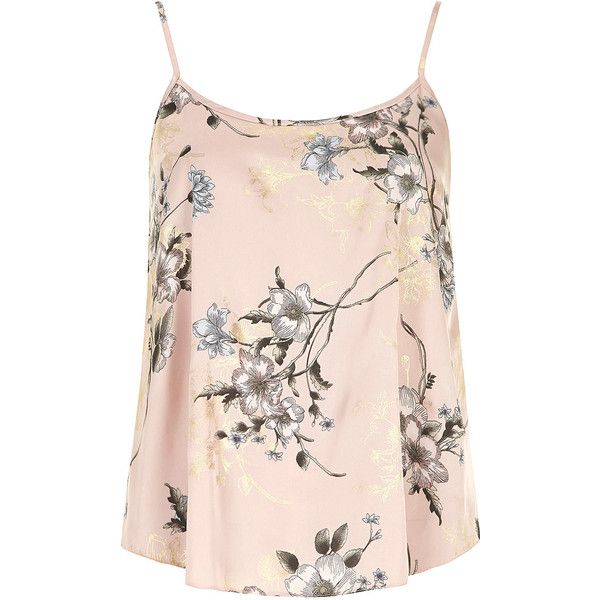 Dorothy Perkins Pink floral cami top found on Polyvore