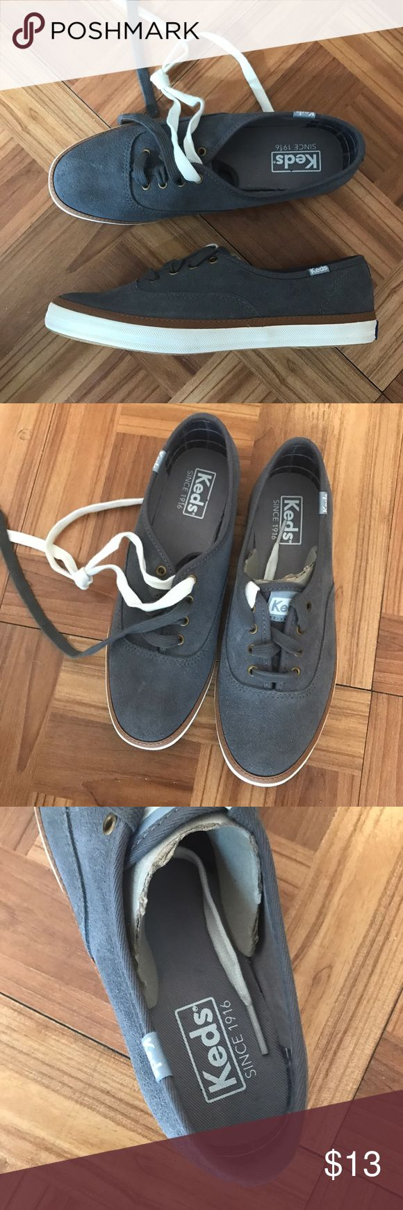 KEDS grey lace up sneakers brand new never worn 6 Brand new never worn sneakers by KEDS, these are size 6. I don't know there style name unfortunately but they're perfect condition. Keds Shoes Sneakers