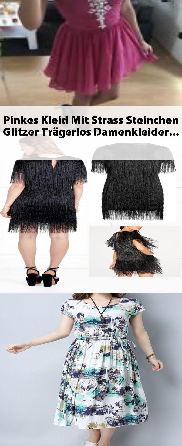 Pinkes Kleid Mit Strass Steinchen Glitzer Trägerlos #Damenkleider