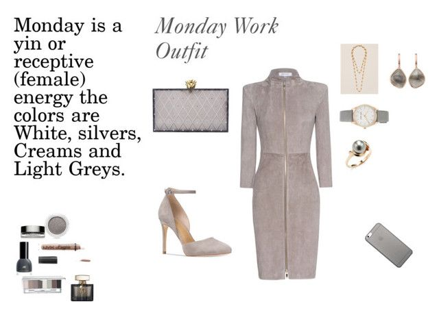 Monday Work Outfit-Grey by rebeccadavisblogger on Polyvore featuring polyvore fashion style Jitrois Michael Kors Charlotte Olympia Francesca's Nine West Monica Vinader Tara Native Union Clarins Clinique Charlotte Russe Gucci clothing